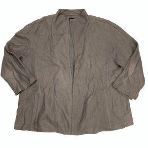 Eileen Fisher Open Front Linen Blend Blazer Sz 2X